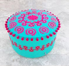 Pouf cover white base multicolor embroidery suzani by VLiving