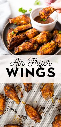 These are the best crispy air fryer chicken wings! They are seasoned with a perfect dry rub and then crisped in the air fryer in just 30 minutes. The whole family will love this easy and healthy recipe. Paleo and gluten free too! Chicken Wing Marinade, Honey Bbq Chicken Wings, Air Fry Chicken Wings, Lemon Pepper Chicken Wings, Chicken Wing Sauces, Cooking Chicken Wings, Paleo Chicken Recipes, Healthy Recipes, Healthy Foods