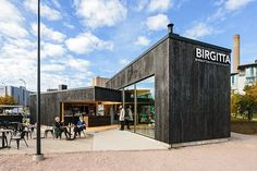Cafe Birgitta in Helsinki, charred facades by Savu Management