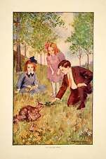 1908 Color Print George A Harker Art Nouveau Easter Bunny Holiday Children YLF3