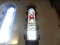 Stain glass window taken from All Saint Church and now installed at St Johns Church in Old Shildon, the picture was taken in december 2015