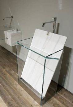 "marble slab in/for bathroom sink. Antonio Lupi ""Dressed Stone"" bathroom by sheryl Stone Bathroom, Modern Bathroom, Small Bathroom, Bathroom Sinks, Bathroom Sink Design, Half Bathrooms, Bathroom Styling, Bad Inspiration, Bathroom Inspiration"