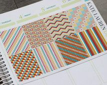 Tribal Planner Stickers for Erin Condren, Full Boxes, Southwestern Stickers, Patterned Full Boxes, Orange Stickers, Turquoise Stickers