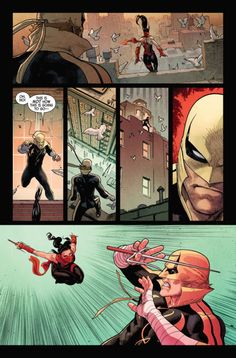 Marvel Defenders great example of action fight scene on American comic book art by comic artist David Marquez reference Comic Book Pages, Comic Book Artists, Comic Artist, Comic Books Art, Marvel Dc, Marvel Heroes, Marvel Comics Art, Manga Comics, Iron Fist Marvel