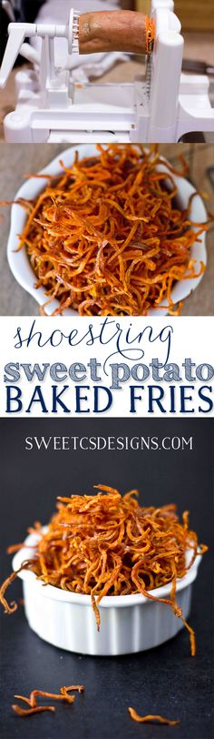 just 30 minutes to make these delicious, addictive and healthy shoestring sweet potato fries!takes just 30 minutes to make these delicious, addictive and healthy shoestring sweet potato fries! Zoodle Recipes, Real Food Recipes, Vegetarian Recipes, Cooking Recipes, Yummy Food, Healthy Recipes, Spiralized Veggie Recipes, Sweet Potato Spiralizer Recipes, Sweet Recipes