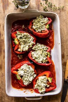 Spicy Pesto Cheese Stuffed Roasted Red Peppers | halfbakedharvest.com Italian Chicken Sausage, Slow Cooked Pork, Half Baked Harvest, Roasted Red Peppers, Main Dishes, Side Dishes, Veg Recipes, Everyday Food, Food For Thought