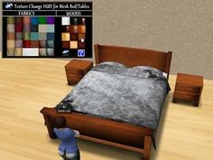 Video! Lok's Mesh Bed and Tables with Texture Change HUD - Second Life Furniture