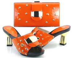 82.00$  Buy now - http://ali09e.worldwells.pw/go.php?t=32713750165 - Women's Shoes And Bag Set SFS-02 orange Free Shipping Italian Shoes With Matching Bags For Party Summer Sandal Size 37-43