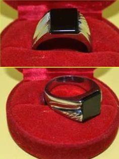 Khodamic Black Lightning Stone Ring Protection Anti Demon Tech Talisman Amulet