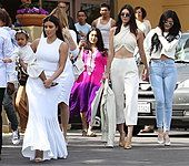 The extended Kardashian-Jenner family attend church at Agoura Hills on Easter Sunday Featuring: Kim Kardashian, - Stock Photo