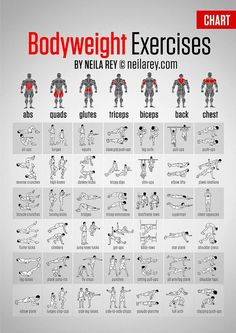 Bodyweight Exercises Chart poster: http://darebee.com/muscle-map.html - Google+ - Google+