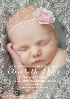 Enchanting Angel: Girl - Winter Girl Birth Announcements in a beautiful and delicate white design.