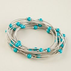 Piano Wire with Turquoise Bracelet.