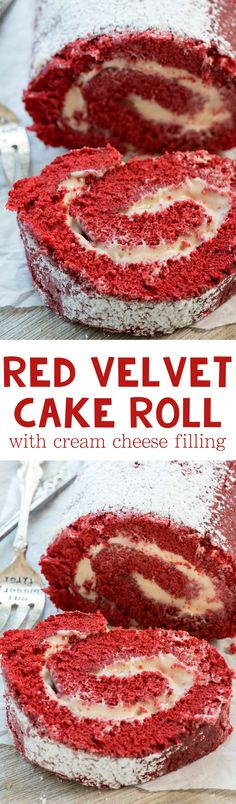 ***Red Velvet Cake Roll with Cream Cheese Filling ~ this easy red velvet cake recipe is rolled up in a roulade - it's the perfect cake for any occasion! Cake Roll Recipes, Frosting Recipes, Dessert Recipes, Buttercream Frosting, Cupcake Recipes, Dessert Ideas, Cake Ideas, Duncan Hines, Red Velvet Cake Roll