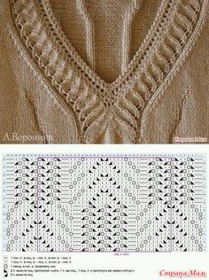 Knitting Pullover Pattern Collars New Ideas Lace Knitting Patterns, Knitting Stiches, Knitting Charts, Knitting Designs, Baby Knitting, Gilet Crochet, Knit Crochet, Free Crochet, Crochet Clothes