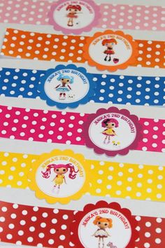 Lalaloopsy Water Bottle Labels (24) - Lalaloopsy birthday party, party coordinates, party set