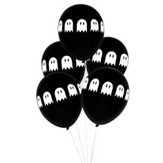 114 best halloween party supplies shop now images on pinterest Halloween Candy Projects black latex balloon with white ghosts printed around balloon happy halloween balloons perfect for