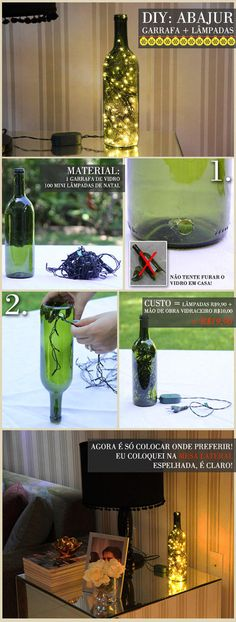Wine bottle lamp!  I want one. Not entirely sure how to make the hole safely though.. hmmn..