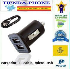 CARGADOR  MECHERO COCHE NEGRO para bq lg dooge lenovo+CABLE MICRO USB