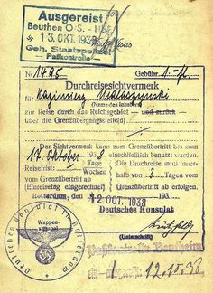1938 Gestapo border inspection stamp applied when entering German controlled Silesia.