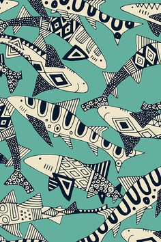 We love these intricately illustrated black and white sharks on turquoise! This Tiere_Fisch Fish Patterns, Cool Patterns, Print Patterns, Surface Pattern Design, Pattern Art, Motifs Art Nouveau, Art And Illustration, Animal Illustrations, Black And White Illustration