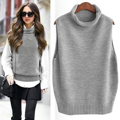 RUGOD 2019 Autumn Winter turtleneck Sleeveless Loose Women Vest Office Lady Solid Comfortable korean Knitted chalecos para mujer - Gray M Sweater Vest Outfit, Vest Outfits, Knit Vest, Mode Outfits, Sweater Vests, Cardigans, Look Fashion, Street Fashion, Pullover Sweaters