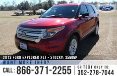 2013 Ford Explorer XLT - Sport Utility Vehicle - V6 3.5L Flex Fuel Engine - Keypad Door Lock - Alloy Wheels - Spoiler - Tinted Windows - Fog Lights - Roof Racks - Safety Airbags - Powered Windows/Locks/Mirrors/Driver's Seat/Passenger Seat - AM/FM/CD/SIRIUS Satellite - Bluetooth - SYNC by Microsoft - Backup Camera and Sensor - Cruise Control - Keypad Door Lock - Remote Keyless Entry - Seats 7 - Touch Screen - USB Port - Digital Compass - Outside Temperature Display - Heated Front Seats and…