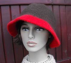 Womens Warm Hand Knit Wool Felted Cloche Hat by maggiesraggedyinn, $35.00