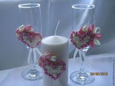 Купить Свадебные бокалы и свеча (семейный очаг) - бледно-розовый, свадьба 2015, свадьба