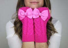 fingerless mittens, fingerless knit gloves with bow, pink knit gloves, OTHER COLORS, bow gloves, knit bow gloves. $32.50, via Etsy.