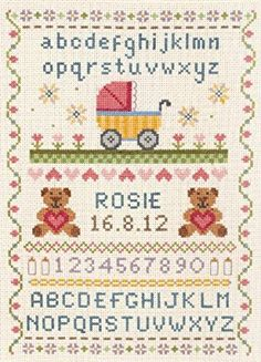 image of Classic Birth Sampler Cross Stitch Kit Baby Cross Stitch Patterns, Cross Stitch Fabric, Cross Stitch Alphabet, Cross Stitch Baby, Cross Stitch Samplers, Counted Cross Stitch Kits, Cross Stitch Embroidery, Black Sheep Wool, Tapestry Kits