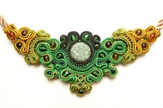 Green gold soutache necklace by AliteJewellery on Etsy, €35.00