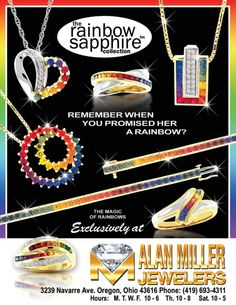 Rainbow Sapphire Collection - This lush jewelry line celebrates color with its spectacular variety of rings, pendants, bracelets, earrings, and necklaces. With these gorgeous designs, the joy of color is always yours to keep!