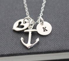 Anchor Necklace .. Initial Necklace ..Sterling Silver, Personalized Jewelry , Custom Hand Stamped Pendant Journey Necklace