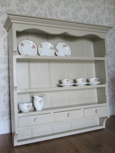 Gorgeous Vintage Old White Farmhouse Kitchen Shabby Chic Wall Shelving Unit