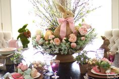 See how I decorated a very gorgeous, yet simple Spring Easter Tablescape. It's perfect for an Easter dinner or just as beautiful Easter decor! | Design Dazzle
