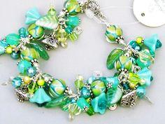 Lampwork beaded bracelet with sterling silver swarovski crystals handmade SRAJD, Tropical