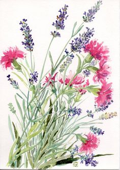 Clavel y lavanda, acuarela Original pintura, arte Floral, pintura de flores, bouquet de verano, Botánico pintura, claveles rojos,