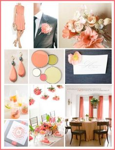 Shades of Coral Wedding Colors | Wedding Color Palette: Coral, Gray, and Mint - The Bride's Guide ...