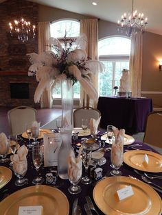 Gorgeous feather centerpieces at Sand Springs Country Club!