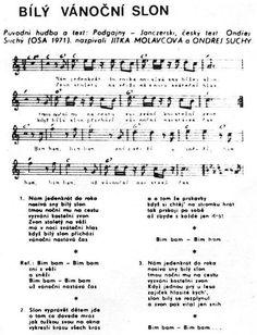 Bílý vánoční slon French Songs, Partition, Thing 1, Sheet Music, Advent, Ms, Christmas, Wave, Kids Songs