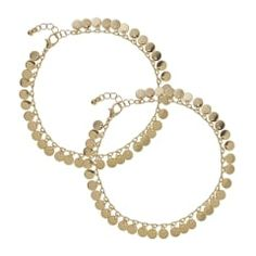 Gold disc set of two anklet
