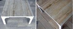 "Table ""Fiorito Light"" - is a combination of light wood and natural Peruvian travertine ""Fiorito""."