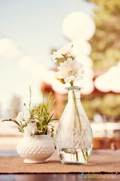 Vintage bud vase centerpiece with wheat for country style wedding by Layers of Lovely Las Vegas