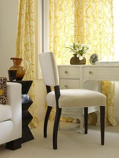 Great chair for a home office / Sarah Richardson Design - Sarah's House - Office Sarah Richardson, Home Office, Office Lounge, Office Meeting, Yellow Cottage, Yellow Curtains, Banquette, Mellow Yellow, My Dream Home