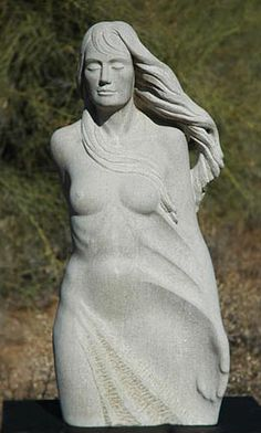 """""""Wind"""", Limestone, 36""""x15""""x10"""".   For Sale:  $7,950.  Sometimes the only way to see is through touch.  This can be an outdoor piece. www.thesculpturestudio.com Outdoor Sculpture, Stone Sculpture, Garden Sculpture, Sculptures, Touch, Statue, Female, Abstract, Collection"""