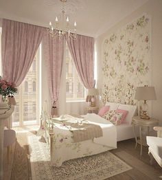 I love the pink curtains next to the floral wallpaper. Super cute as fun. All the colors and designs definitely feel aesthetic pleasing.