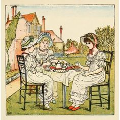Kate Greenaways Birthday Book 1880 Afternoon tea Canvas Art - Kate Greenaway (18 x 24)