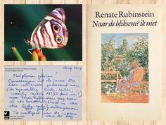 """10.09.15 DE VLINDERKAART Laatste vond ik bij het verversen van de minibieb een boek van Renate Rubinstein met de titel: """"Naar de Bliksem? ik niet"""" Alle boeken van Est'hers Little Free Library worden gestempeld. Zo weet ik of dit boek al eens in dit biebje heeft gestaan. Dus bij controle kwam ik deze mooie vlinderkaart tegen. Op de achterkant stond: Met plezier gelezen! En een reactie van de lezer. Dat is leuk en maakt je warm van binnen. Het is fijn als mensen een persoonl"""