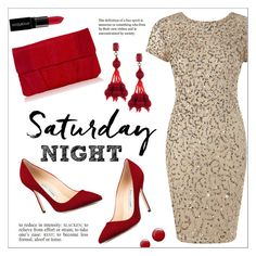 """Saturday Night"" by ms-mandarinka ❤ liked on Polyvore featuring Adrianna Papell, Manolo Blahnik, Oscar de la Renta, Topshop, Smashbox and Inge Christopher"